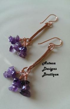 Amethyst Long Modern Cluster Earrings