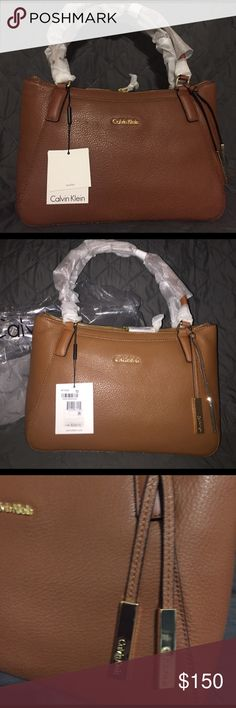 NWT Calvin Klein Leather Zip Top Purse New Calvin Klein Leather purse. 2 pockets with snap closure on both sides. Zippered Top. 2 handles still wrapped. Inside has zippered pocket on one side and 2 pockets on the other side. Brand new . MSRP $228 no low ball offers accepted but I will accept reasonable offers. Purse won't be listed long, if doesn't sell quickly I will give it to a relative for a birthday coming up or saved to give away for Mother's Day. Get it now while you can. It's good…