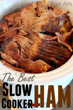 The BEST slow cooker ham you've ever had. This is way too easy! Never cooking ham any other way.  #food #recipe #crockpot #ham