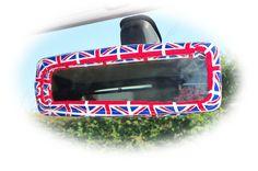 Union jack print car rear view interior mirror cover london queen royal united kingdom flag patriotic British red white blue