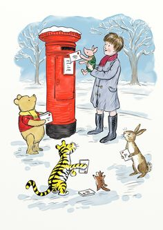 "The large hole in the post box reminded Winnie-the-Pooh of Rabbit's home, so he asked ""Rabbit, do any of your friends live inside there and do they mind if we put Christmas cards in their home?"" Rabbit said in a matter-of-fact way. ""Of course rabbits don't go about living in post boxes. The constant interruption of post would be very inconvenient."""