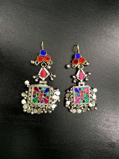 Vintage Handmade Earrings Afghan Kuchi Tribal Jewelry Boho Gypsy Belly Dancing Woman Fashion Earrings Indian Tibetan Ethnic Banjara Earrings by RareFindingsUS on Etsy