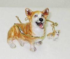 Royal-Corgi-Dog-Jeweled-Trinket-Box-w-Corgi-Dog-Pendant-Necklace a beautiful hand painted jeweled box that would make a wonderful gift.