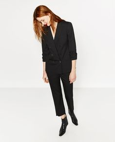 Image 1 of DOUBLE-BREASTED PINSTRIPE JACKET from Zara