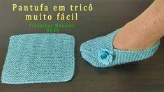 Pantufa em tricô muito fácil - YouTube Easy Crochet Slippers, Crochet Mittens Free Pattern, Knitting Patterns Boys, Crochet Shoes Pattern, Baby Booties Free Pattern, Crochet Dishcloths, Knit Crochet, Diy Couture, Easy Knitting