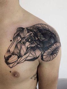 Ram tattoo. Sheep tattoo. Geometric animal tattoo. Skull tattoo. Shoulder tattoo. Unique tattoo.