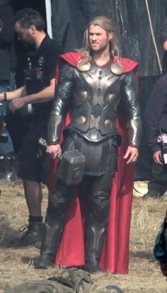 Chris Hemsworth on the set of Thor: The Dark World.