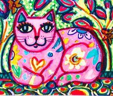 Pink Cat Print Cat Art Girl's Bedroom Decor by AGirlAnOwlAndACat