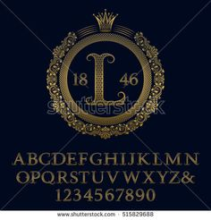 Lattice patterned gold #letters and numbers with initial #monogram in coat of arms form. Decorative patterned #font for #logo #design. Isolated english vintage #alphabet, figures.