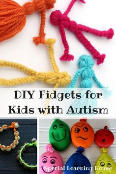 DIY FIDGETS FOR KIDS WITH AUTISM // Reduce stress & frustration & increase concentration & learning by making a fidget for your child! Sensory Activities For Autism, Diy Sensory Toys, Autism Crafts, Autism Learning, Autism Parenting, Autism Resources, Autism Awareness Crafts, Autism Classroom, Sensory Activities
