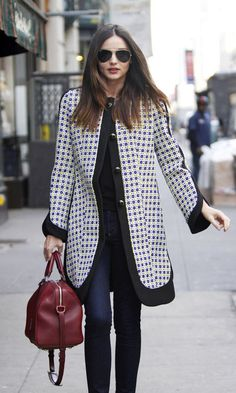 I love the Stella McCartney jacket with the oxblood bag.