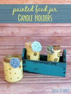 Turn empty food jars into cute DIY candle holders with some stickers and paint! Great project idea for beginner crafters and kids, too!