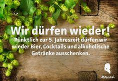 Die Fastenzeit ist vorueber! Puenktlich zur 5. Jahreszeit duerfen wir wieder  Bier und andere alkoholische Getraenke ausschenken.    Wir danken dem KVR Muenchen.    Mozart - Cafe - Restaurant - Cocktail Bar   www.cafe-mozart.info #Cafe #Mozart #Restaurant #Cocktail #Bar #Muenchen #Fruehstueck #Kuchen #Mittagsmenu #Lunch #Sendlingertor #Placetobe #Kaffee Cocktails, Cafe Restaurant, Herbs, Food, Beer, Kaffee, Lenten Season, Alcoholic Drinks, Give Thanks