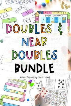 Get your students confidently doubling, halving, and using the near doubles strategy with these fun games! This bundle is designed to provide your students with hands-on, differentiated learning experiences with little preparation from you. All tasks have been carefully created to build proficiency, fluency, and confidence when using number knowledge to double and halve. Grade 1 & Grade 2 #rainbowskycreations
