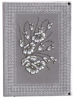 Black ink and embossed flowers Aileen Childs Pattern 2012.