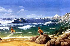Gonsalves - Aquatic Mountaineering Optical Illusion Paintings, Amazing Optical Illusions, Illusion Kunst, Illusion Art, Robert Gonsalves, Max Ernst, Magic Realism, Surrealism Painting, Magritte