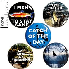 Amazon.com: Fishing Fridge Magnets for Refrigerators or Lockers Featuring Funny Nature and Funny Quotes About Fishing Live to Fish I Fish to Stay Sane Catch of the Day Magnet 5 Pack Gift Set 1 Inch MP38-3: Handmade Funny Buttons, Cool Buttons, Funny Gifts For Dad, Funny Dad, Dad Gifts, Stay Sane, 1 Live, Camping Gifts, Cheap Gifts
