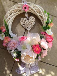 Ružovo-biely veniec 32cm-rezerve / anad333 - SAShE.sk - Handmade Dekorácie