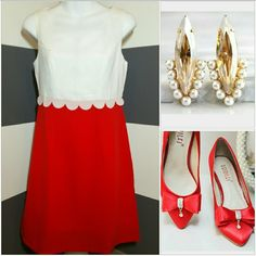 """'Lady in Red' Dress NWOT Lovely lady in Red dress. This beauty features an elegant design. The white top with delicate details and  vibrant red bottom make this dress a stunning success! Pair with a glamorous statement necklace, bracelets and heels and off you go looking like a million bucks!  Zips up in back Length approx 34"""" Bust seam to seam approx 17.5"""" Material and white lining 100% polyester Light weight material Dresses"""
