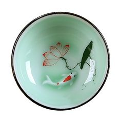 DELIFUR(TM) Porcelain Chinese Long-quan Celadon Teacup,kungfu Teacup, Fishes and Lotus Pattern,set of 4 Delifur