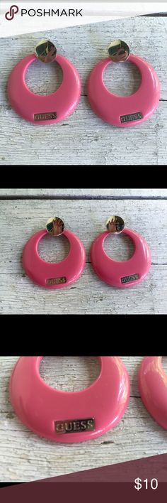GUESS Pink hoop Earrings Guess pink earrings.  Great condition Guess Jewelry Earrings