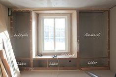 Built-in closet, bookcase, storage space and window seat.