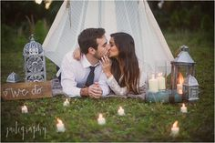 Rustic, boho chic outdoor engagement photography  | Miami Florida Photographer | Zaitography   teepee, candles, engaged, romantic