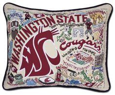CatStudio Embroidered Washington State University Pillow