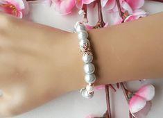 Gray pearl bracelet flower girl gift flower girl bracelet