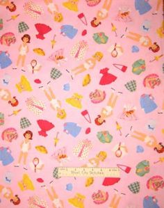 Paper-Doll-Fabric-100-Cotton-By-The-Yard-Timeless-Treasures-Girl-Pink-C5193