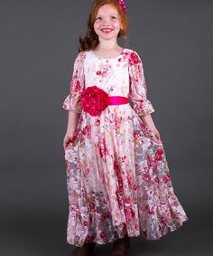 3a57bc55154 Look at this Mia Belle Baby Pink Floral Lace Peasant Dress - Toddler
