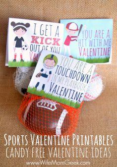 Sports Valentines Printables - Candy Free Valentine Ideas