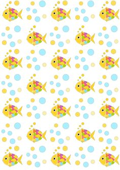 FREE printable nautical pattern paper | fishes and bubbles