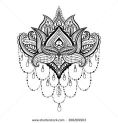 Ornamental Lotus, ethnic zentangled henna tattoo, patterned Indian paisley for adult anti stress coloring pages. Hand drawn illustration in doodle style.