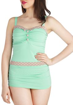 A Hint of Mint One Piece - Tan / Cream, Solid, Polka Dots, Buttons, Ruching, Beach/Resort, Rockabilly, Pinup, Vintage Inspired, 50s, Pastel, Summer, Mint, Trim, 30s, 40s, Tank top (2 thick straps)