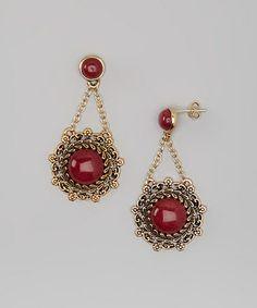 Another great find on #zulily! Raspberry Quartz & Bronze Drop Earrings #zulilyfinds