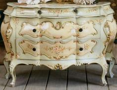 oh this is quite lovely~french bombe chest painted in sunset pink cream and gold