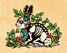 Day of the Dead Bunny RABBIT Dia de los Muertos Art Print 5 x 7, 8 x 10 or 11 x 14