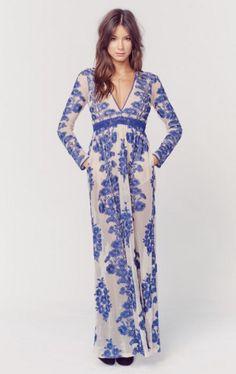For Love & Lemons Temecula Maxi Dress- Planet Blue