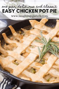 This spin on a classic Chicken Pot Pie is delicious, easy, has way fewer carbs than traditional versions, and best of all it is all made in one pan. Easy Chicken Pot Pie, One Pan Chicken, Chicken Recipes, Bhg Recipes, Cooking Recipes, Healthy Recipes, Sweets Recipes, Family Recipes, Clean Recipes