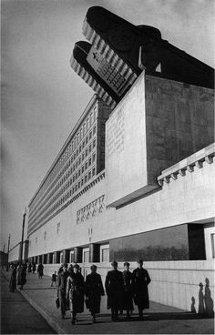 Soviet Brutalist architecture. Looks like a tank coming out of the building!