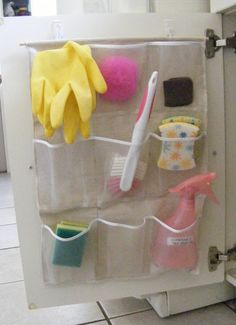 Put a shoe holder inside cupboard door for storage.