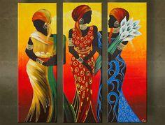 Ručne maľovaný obraz AFRIKA 3 dielny 5500FA