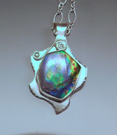 Ammolite Amazing Color Silver Dancing Star One of a Kind by RedPaw, $159.00