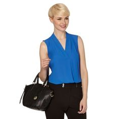 The-Collection-Womens-Bright-Blue-Crepe-Pleat-Front-Top-From-Debenhams