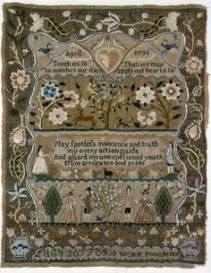 ♒ Enchanting Embroidery ♒ embroidered antique sampler from Rhode Island, 1791