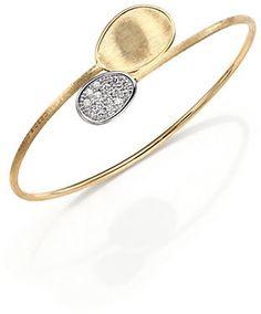 Marco Bicego Lunaria Diamond & 18K Yellow Gold Bypass Bangle Bracelet on shopstyle.com