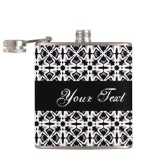 Seating girl black and white vectorial pattern flask