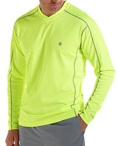 Coolibar fluo long sleeve UV Protective Men's Sport T-shirts UPF 50+ soft, light and fast drying