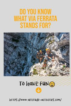 Do you know what via Ferrata stands for?... To have fun🤣 It's definitely a great way of exploring the mountains.🧗♂️ #climbing #adventure #havefun Do You Know What, Need To Know, What Activities, Ice Climbing, Extreme Sports, Slovenia, Rafting, Exploring, Hiking